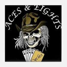 Aces and Eights Cycles Logo Tile Coaster