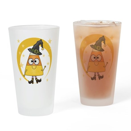 Candy Corn Halloween Witch Drinking Glass
