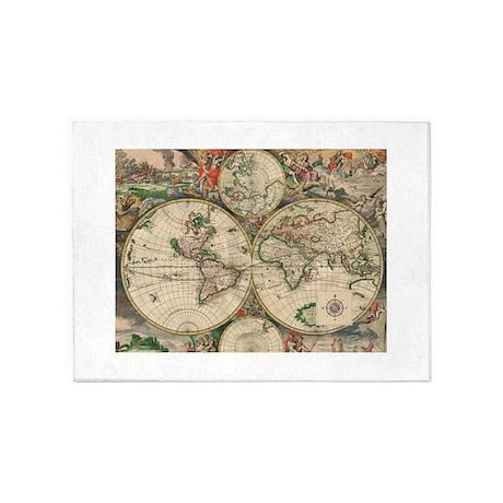 Antique Old World Map 5u0027x7u0027Area Rug