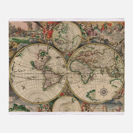 Antique Old World Map Throw Blanket