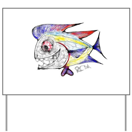 Mean Abstract Fish Yard Sign