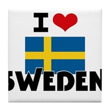 I HEART SWEDEN FLAG Tile Coaster