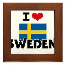 I HEART SWEDEN FLAG Framed Tile