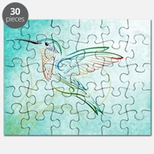 Aqua Hummingbird Watercolor Puzzle