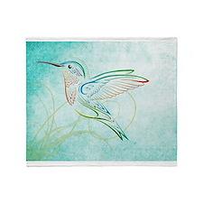Aqua Hummingbird Watercolor Throw Blanket