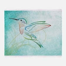 Aqua Hummingbird Watercolor Throw Blanket