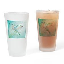 Aqua Hummingbird Watercolor Drinking Glass