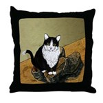 Vincent's Shoes & Kitty Throw Pillow