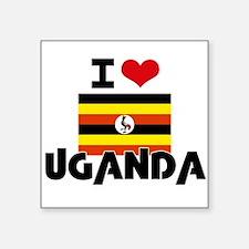 I HEART UGANDA FLAG Sticker