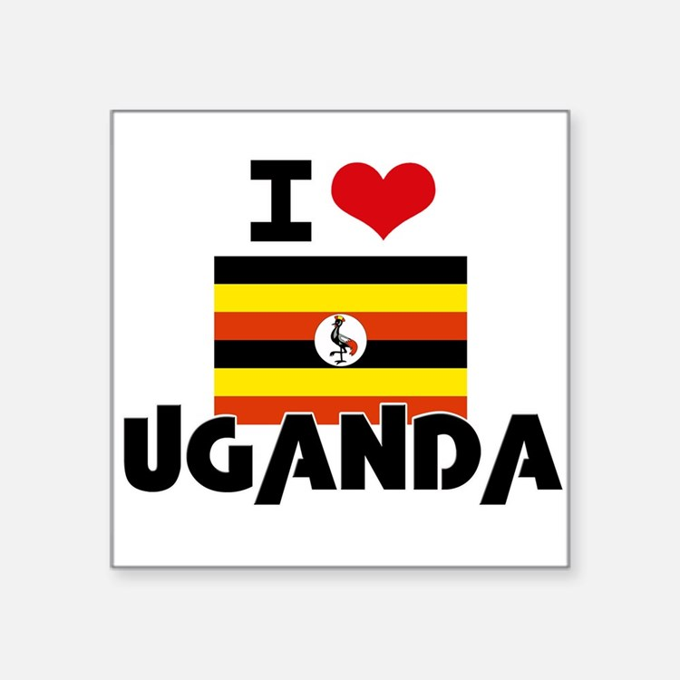 I HEART UGANDA FLAG Sticker