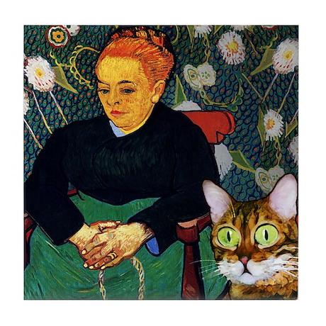 Scaredy Cat_van Gogh parody Tile Coaster