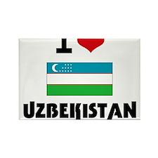 I HEART UZBEKISTAN FLAG Rectangle Magnet