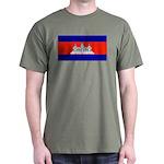 Cambodia Blank Flag Military Green T-Shirt