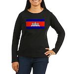 Cambodia Flag Women's Long Sleeve Black T-Shirt