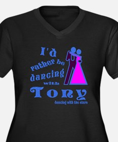 Dancing With Tony Women's Plus Size V-Neck Dark T-
