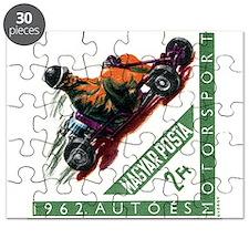 Vintage 1962 Hungary Kart Racing Postage Stamp Puz