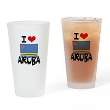 I HEART ARUBA FLAG Drinking Glass