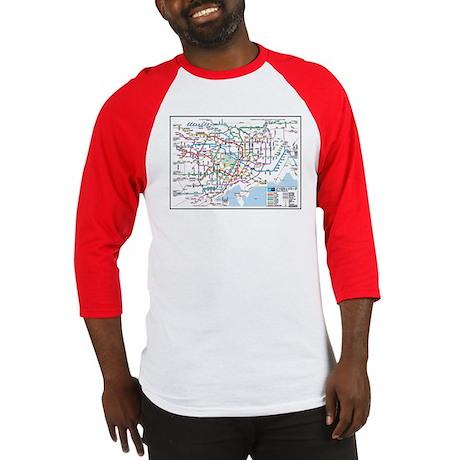 Tokyo Metro Map Baseball Jersey (red, navy, black)
