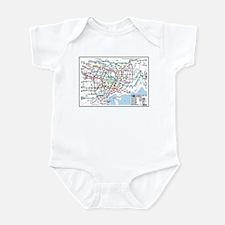 Tokyo Metro Map Baby Bodysuit (white, blue, pink)