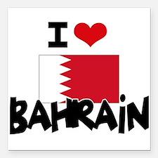 "I HEART BAHRAIN FLAG Square Car Magnet 3"" x 3"""