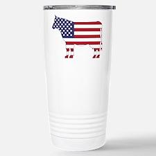 US Flag Cow Icon Travel Mug