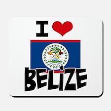 I HEART BELIZE FLAG Mousepad