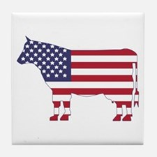 US Flag Cow Icon Tile Coaster