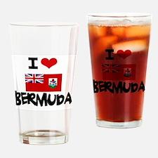 I HEART BERMUDA FLAG Drinking Glass