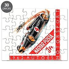 Vintage 1962 Hungary Auto Racing Postage Stamp Puz