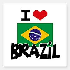 """I HEART BRAZIL FLAG Square Car Magnet 3"""" x 3"""""""