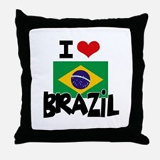 I HEART BRAZIL FLAG Throw Pillow