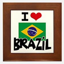 I HEART BRAZIL FLAG Framed Tile