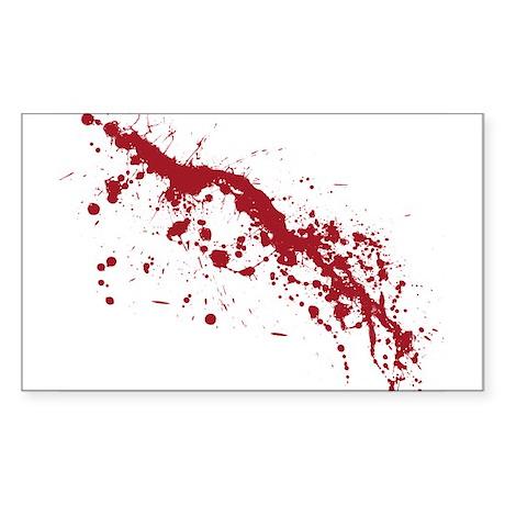 Red Blood Splatter Sticker (Rectangle)