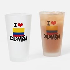 I HEART COLOMBIA FLAG Drinking Glass