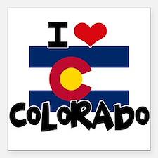 """I HEART COLORADO FLAG Square Car Magnet 3"""" x 3"""""""