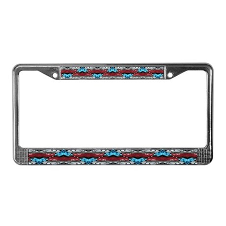 Turquoise/Coral Fractal Lic. Plate Frame