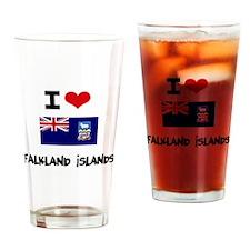 I HEART FALKLAND ISLANDS FLAG Drinking Glass
