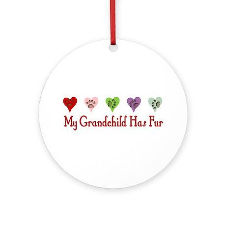 Furry Grandchild Ornament (Round)