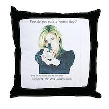 rapist beware, 2nd amendment Throw Pillow