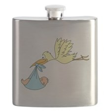 Stork Delivering a Baby Flask