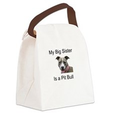 Pit Bull Big Sister Canvas Lunch Bag