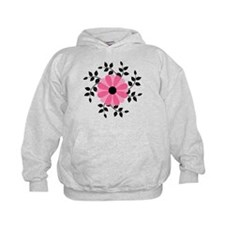 Pink and Black Daisy Flower Hoodie