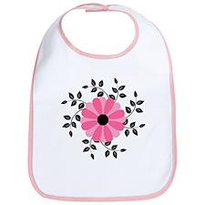 Pink and Black Daisy Flower Bib