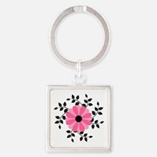 Pink and Black Daisy Flower Keychains