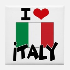 I HEART ITALY FLAG Tile Coaster