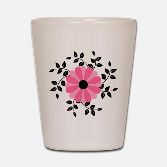 Pink and Black Daisy Flower Shot Glass