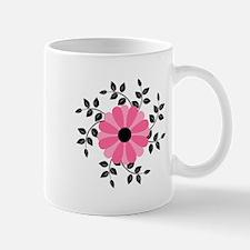 Pink and Black Daisy Flower Mug
