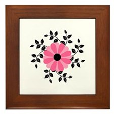 Pink and Black Daisy Flower Framed Tile