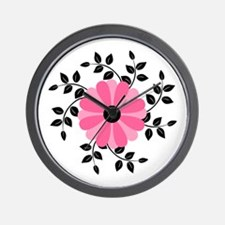 Pink and Black Daisy Flower Wall Clock