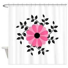 Pink and Black Daisy Flower Shower Curtain